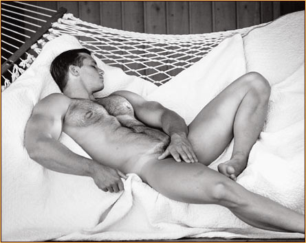 Jim French original gelatin silver print depicting a male nude resting on a hammock