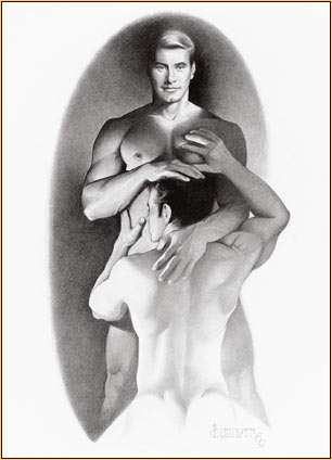 Jim French original graphite on paper drawing depicting two male nudes