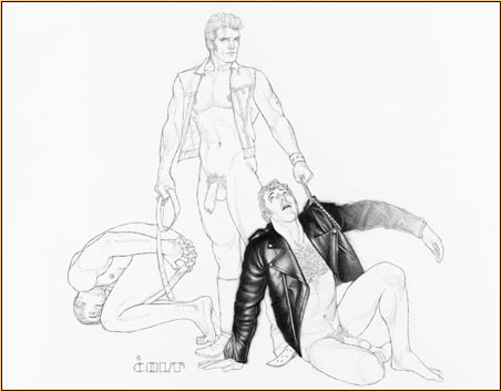 Jim French original graphite on paper drawing depicting two male seminudes and one male nude
