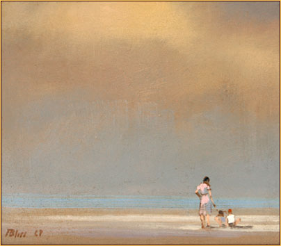Robert Bliss original oil painting depicting a family on the beach