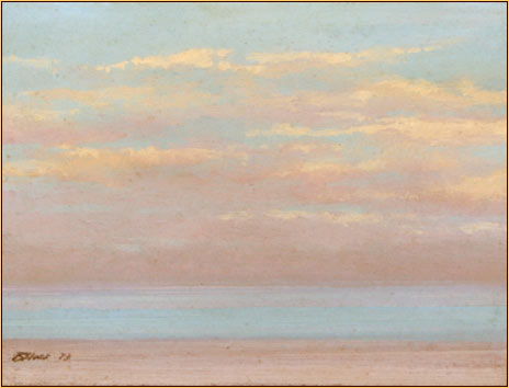 Robert Bliss original oil painting depicting clouds above the ocean