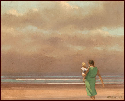 Robert Bliss original oil painting depicting a female figure and a child on the beach