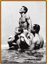 Tom Bianchi original gelatin silver print depicting three male nudes frolicking in a pool