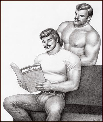 Tom of Finland original graphite on paper drawing depicting two male figures reading