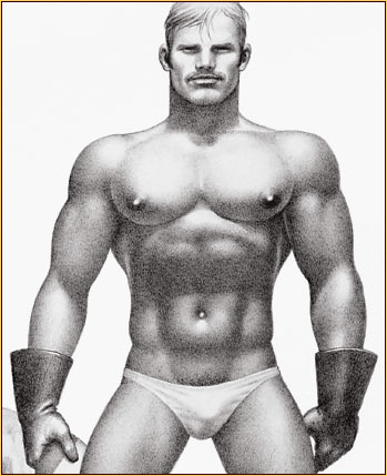 Tom of Finland original limited edition lithograph depicting a seminude biker (Detail)