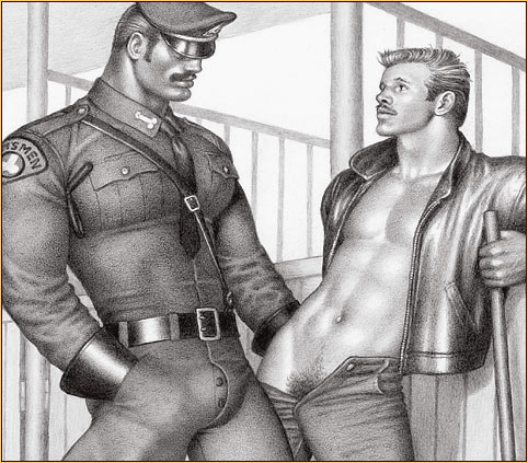 Tom of Finland original graphite on paper drawing depicting a male figure in uniform and a male seminude (Detail)