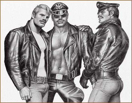 Tom of Finland original limited edition lithograph depicting three male figures in leather gear (Detail)