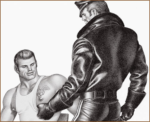 Tom of Finland original limited edition lithograph depicting a male figure in leather gear and a male seminude with a tattoo (Detail)