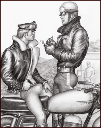 Tom of Finland original graphite on paper drawing depicting a police officer and a biker