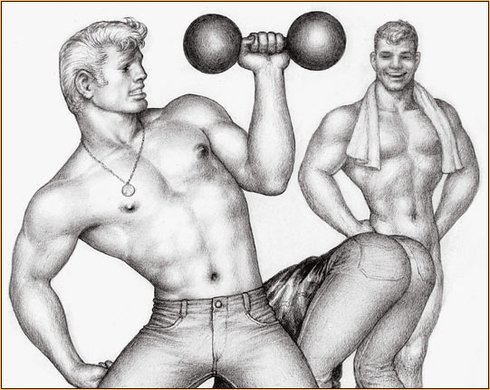 Tom of Finland original graphite on paper drawing depicting three bodybuilders (Detail)
