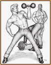 Tom of Finland original graphite on paper drawing depicting three bodybuilders
