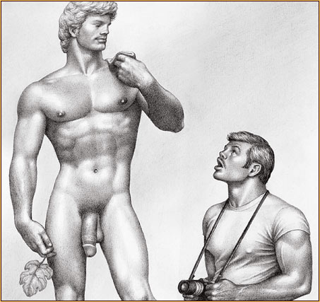 Tom of Finland original graphite on paper drawing depicting Michelangelo's David and a male tourist (Detail)