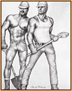 Tom of Finland original fine art print depicting two seminude construction workers