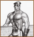 Tom of Finland original graphite on paper drawing depicting a male seminude in leather gear