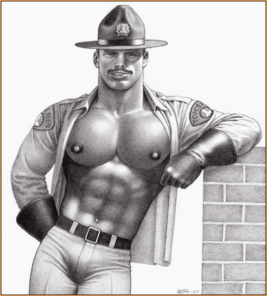 Tom of Finland original graphite on paper drawing depicting a seminude Mountie