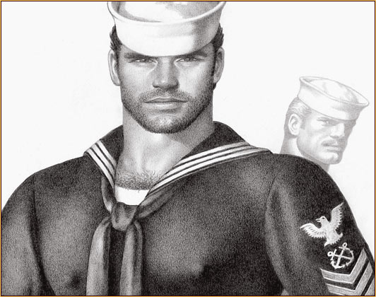 Tom of Finland original graphite on paper drawing depicting two sailors (Detail)