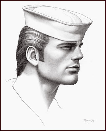 Tom of Finland original graphite on paper drawing depicting the portrait of a sailor