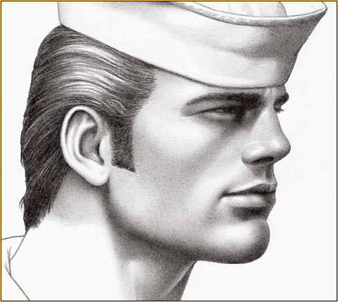 Tom of Finland original graphite on paper drawing depicting the portrait of a sailor (Detail)