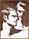 Tom of Finland original color linoleum block impression depicting the portrait of two male figures