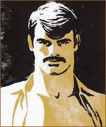 Tom of Finland original color linoleum block impression depicting the portrait of a male figure