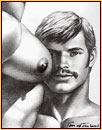 Tom of Finland original fine art print depicting the portrait of a male figure and a male seminude