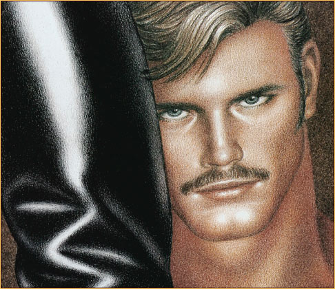 Tom of Finland original limited edition color lithograph depicting a male nude and a leather boot (Detail)