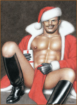 Tom of Finland original colored pencil on paper drawing depicting a seminude Santa Claus