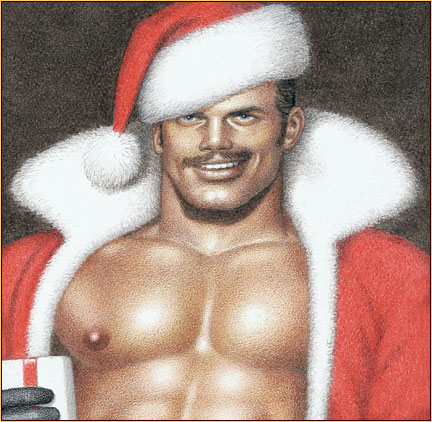 Tom of Finland original colored pencil on paper drawing depicting a seminude Santa Claus (Detail)