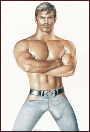 Tom of Finland original colored pencil on paper drawing depicting a male seminude in blue jeans