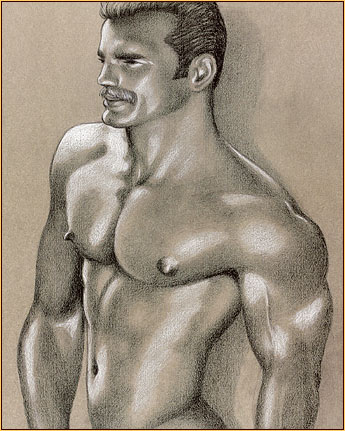 Tom of Finland original limited edition color lithograph depicting a male nude (Detail)