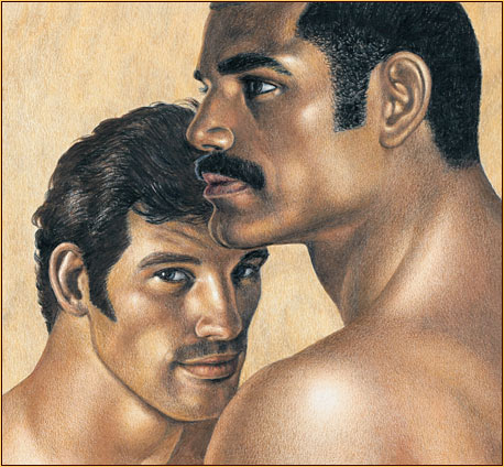 Tom of Finland original colored pencil on paper drawing depicting the portrait of two male figures