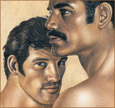 Tom of Finland original colored pencil on paper drawing depicting the portrait of two male figures (Detail)