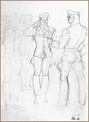 Tom of Finland original graphite on paper study drawing depicting a group of male figures in uniform